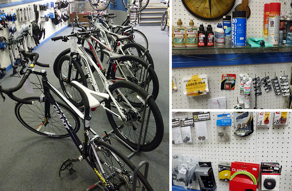 all bicycling accessories including pumps, tubes, tires, CO2, lubricants, brake accessories, etc.